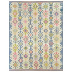 Contemporary Handmade Flat-Weave Rug in Grey, Beige, Pink, Blue, and Green