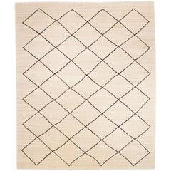 Contemporary Handmade Flatwave Black and Beige Kilim Wool Rug
