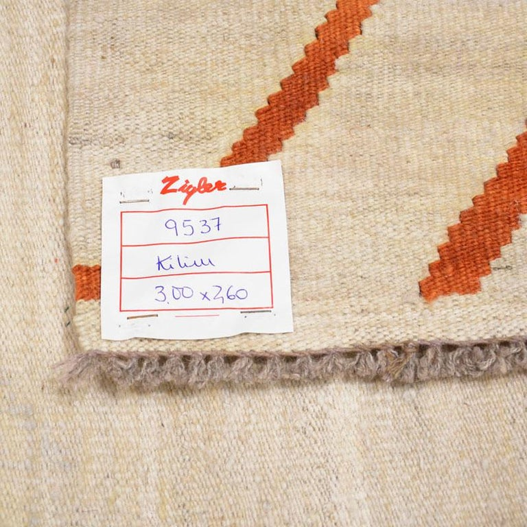Contemporary Handmade Flatwave Red and Beige Kilim Wool Rug For Sale 11