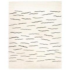Contemporary Handmade Hemp Kilim White Rug