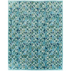 Contemporary Handmade Indian Oversize Rug in Blues and Greens