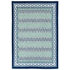 Contemporary Handmade Indian Dhurrie Room Size Carpet in Blue and Green