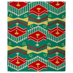 Contemporary Handmade Kilim Design Green, Red and Yellow