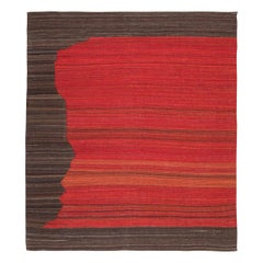 Contemporary Handmade Kilim Mazandarán over Wool Browns and Red