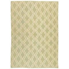 Contemporary Handmade Kilim, Rhombuses, Green and White