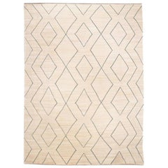 Contemporary Handmade Kilim Wool Rug over Beige and Blue Colors