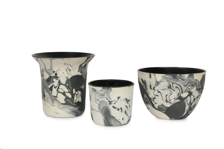 Modern Contemporary Handmade Marbled Ceramic Cup in Black and White For Sale