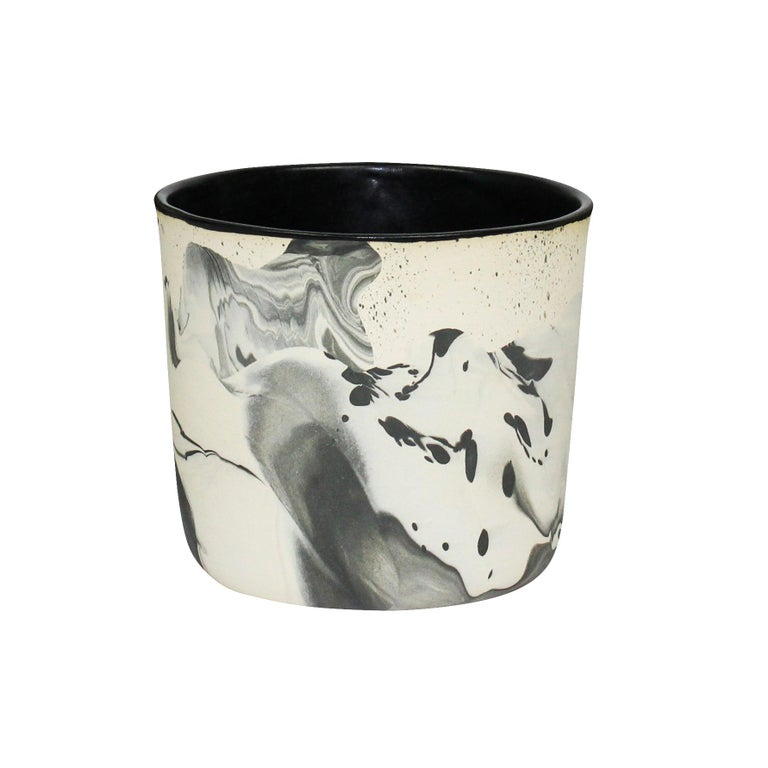 Contemporary Handmade Marbled Ceramic Cup in Black and White For Sale