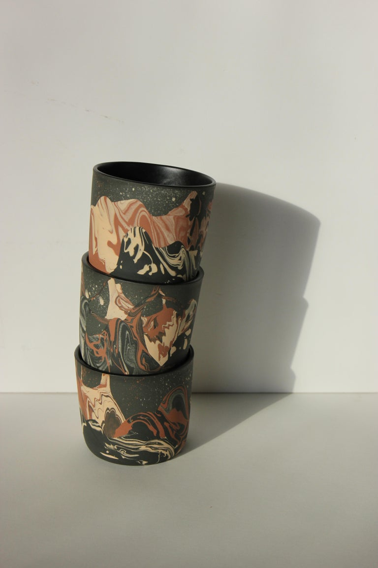 Modern Contemporary Handmade Marbled Ceramic Cup in Peach, Black and Brown For Sale