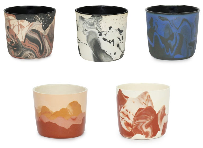 Cast Contemporary Handmade Marbled Ceramic Cup in Peach, Black and Brown For Sale