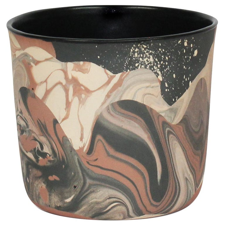 Contemporary Handmade Marbled Ceramic Cup in Peach, Black and Brown For Sale