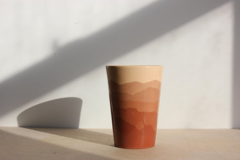 Modern Contemporary Handmade Marbled Ceramic Tumbler Cup in Black, Peach and Brown For Sale