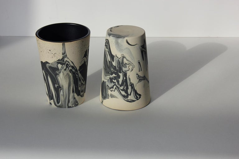American Contemporary Handmade Marbled Ceramic Tumbler Cup in Black, Peach and Brown For Sale