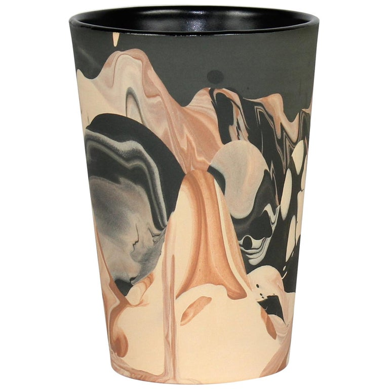 Contemporary Handmade Marbled Ceramic Tumbler Cup in Black, Peach and Brown For Sale