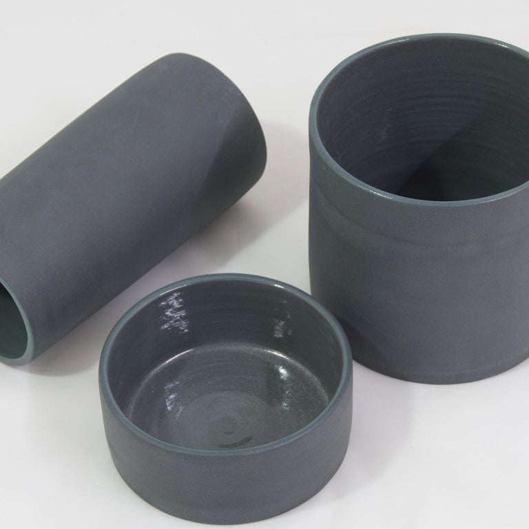 Handmade Contemporary Flower Vase Matte Grey Porcelain 2