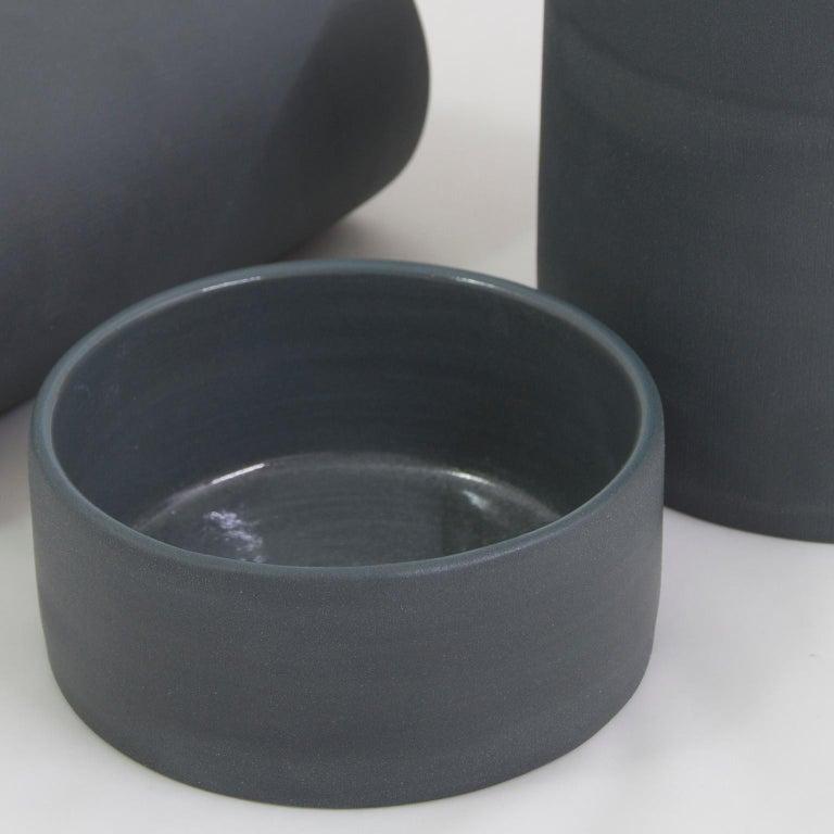 Handmade Contemporary Flower Vase Matte Grey Porcelain 3