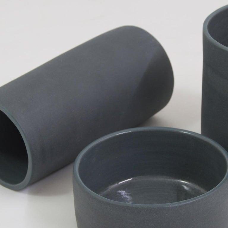 Handmade Contemporary Flower Vase Matte Grey Porcelain 4
