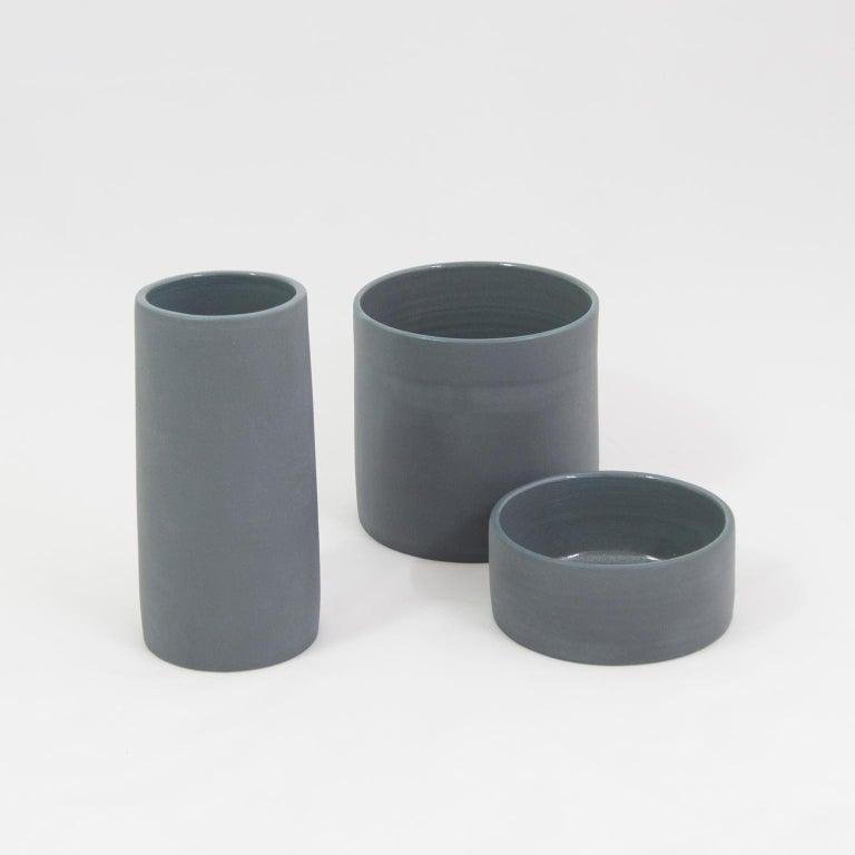 Handmade Contemporary Flower Vase Matte Grey Porcelain 5