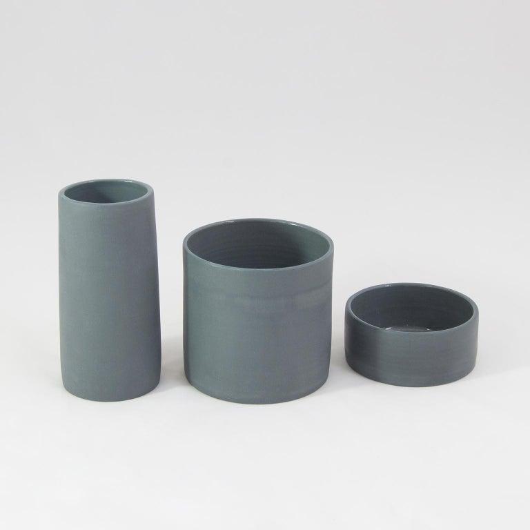 Handmade Contemporary Flower Vase Matte Grey Porcelain 6