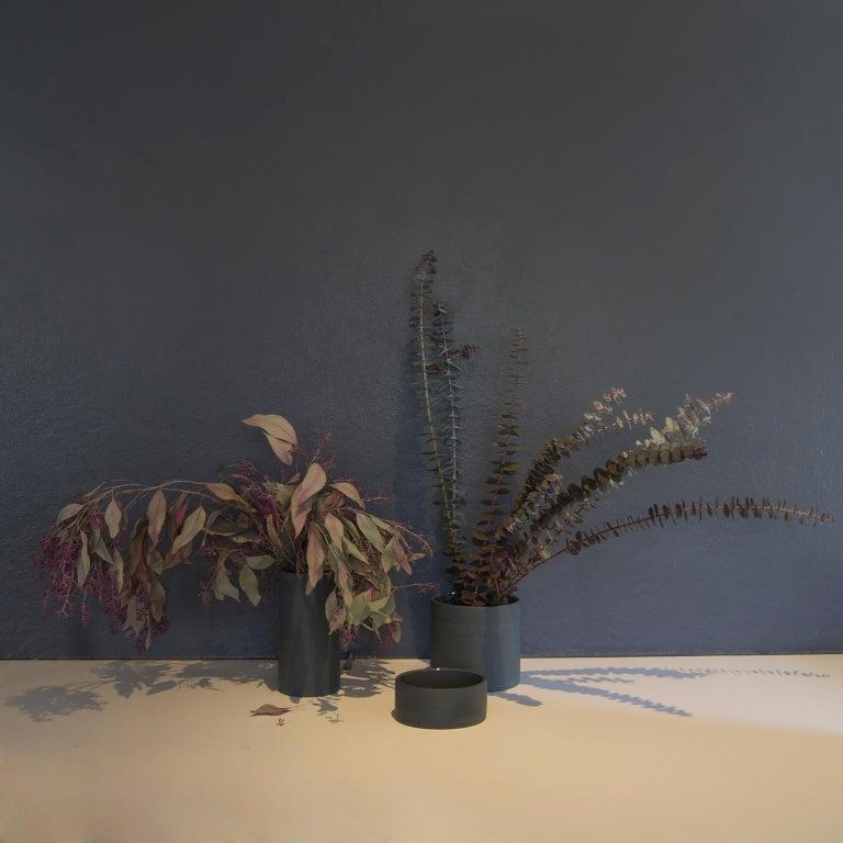 Handmade Contemporary Flower Vase Matte Grey Porcelain 7