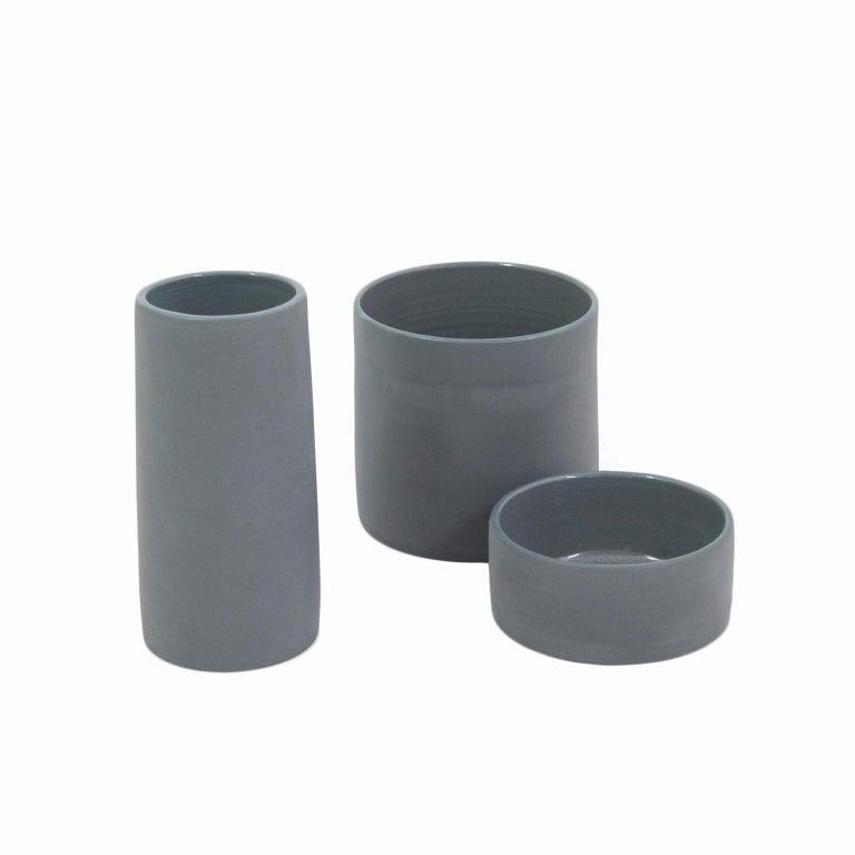 Handmade Contemporary Flower Vase Matte Grey Porcelain 1