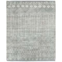 Contemporary Handmade Moroccan Room Size Carpet in Grey and White