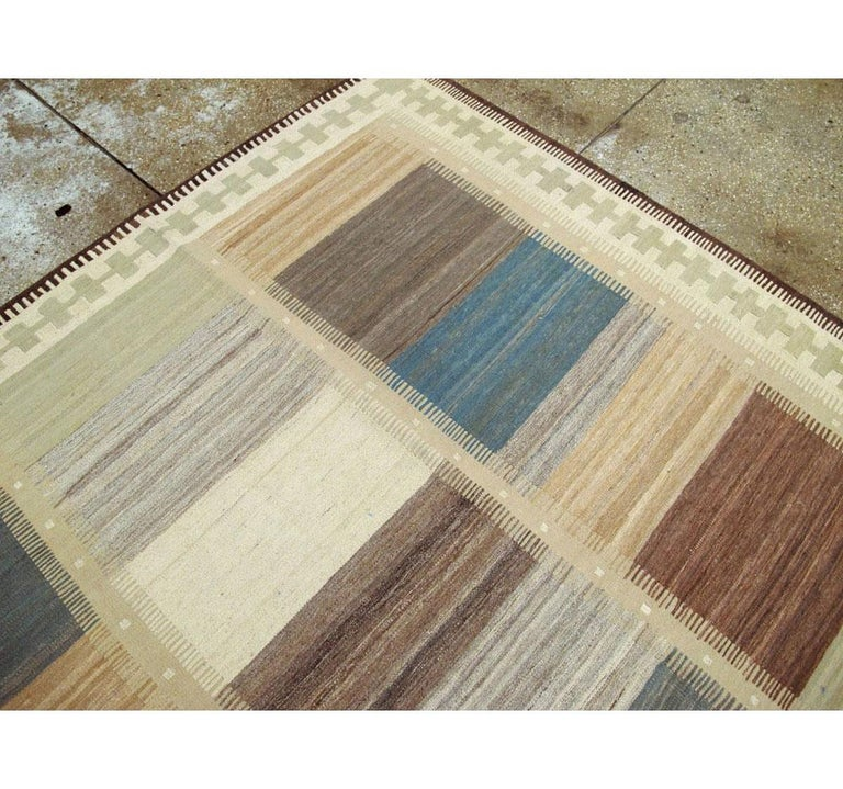 Contemporary Handmade Persian Room Size Flat-Weave Rug For Sale 1