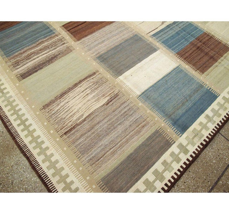 Contemporary Handmade Persian Room Size Flat-Weave Rug For Sale 2