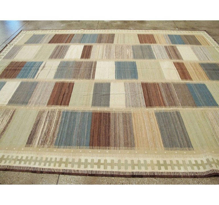 Contemporary Handmade Persian Room Size Flat-Weave Rug For Sale 3