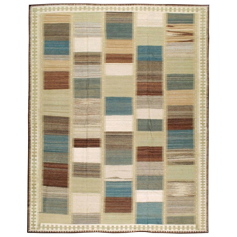Contemporary Handmade Persian Room Size Flat-Weave Rug For Sale