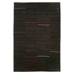 Contemporary Handmade Persian Flat-Weave Accent Rug in Dark Brown