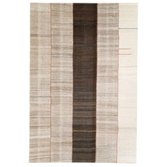Contemporary Handmade Persian Flat-Weave Accent Rug in Cream and Brown