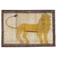 Contemporary Handmade Persian Gabbeh Pictorial Lion Accent Rug