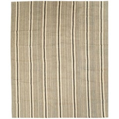 Contemporary Handmade Persian Large Room Size Rug in Beige and Brown