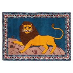 Contemporary Handmade Persian Shiraz Pictorial Lion Throw Rug in Yellow and Blue