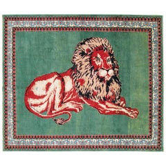 Contemporary Handmade Pictorial Room Size Rug of a Resting Lion