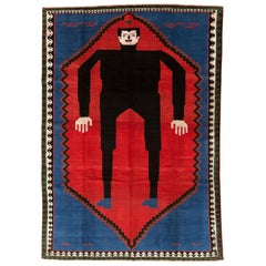 Contemporary Handmade Pictorial Accent Rug of Frankenstein