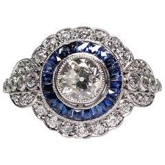 Art Deco Platin Zeitgenössische Handgefertigte 1,8-Karat Diamant und Saphir-Ring