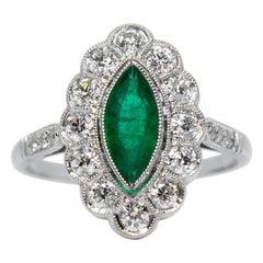 Contemporary Handmade Platinum Emerald and Diamond Ring