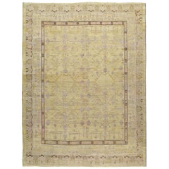 Contemporary Handmade Pomegranate Khotan Room Size Carpet in Yellow and Purple