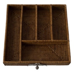 Contemporary Handmade Rattan and Sterling Silver Large Utensil Tray