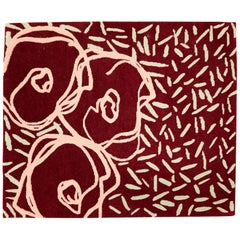 Contemporary Handmade Red Flower Rug, Custom Size and Colors, Ideal for Side Bed