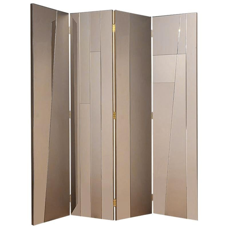 """Contemporary Handmade Room Divider """"Aether"""" with Mirrored Surfaces by Anaktae"""