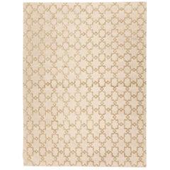 Contemporary Handmade Rug, Geometric Design in Beige Soft Color