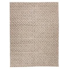 Contemporary Handmade Rug, Geometric Design in Gray Soft Color