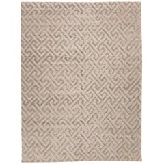 Contemporary Handmade Rug, Geometric in Gray Soft Color
