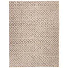 Contemporary Handmade Rug, Geometric in Gray Soft Color