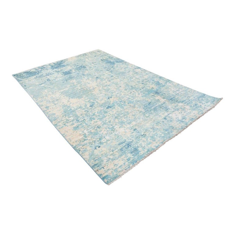 Modern Contemporary Handmade Rug in Silk and Wool Blues Shades For Sale