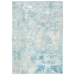 Contemporary Handmade Rug in Silk and Wool Blues Shades
