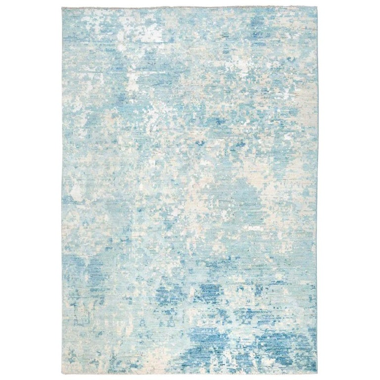 Contemporary Handmade Rug in Silk and Wool Blues Shades For Sale